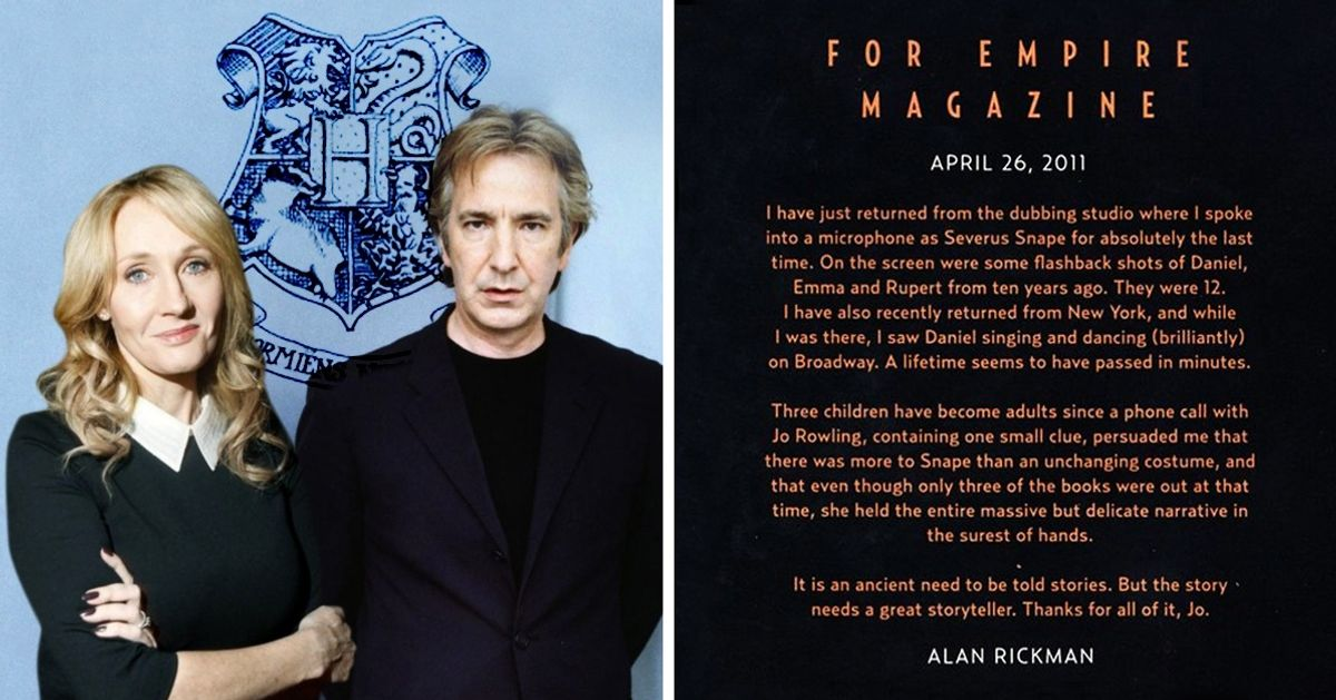 Con esta carta Alan Rickman agradeció supaso por Harry Potter aJ.K. Rowling