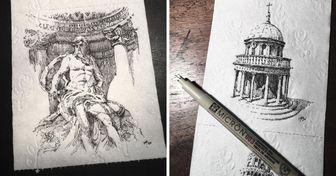 Artista dibuja sitios clásicos de Italia en papel sanitario y subasta las obras en Internet