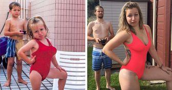 18 Personas que recrearon de forma ingeniosa sus viejas fotos familiares
