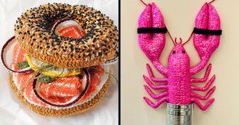 Una artista se divierte tejiendo alimentos idénticos a los originales y sus exposiciones han sido todo un éxito