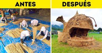 En Japón hay un festival que aprovecha los residuos de las cosechas de arroz para crear esculturas gigantes de animales