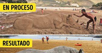 Un artista vasco le da vida a la arena con sus esculturas realistas de animales (20 fotos)