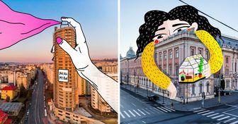 Artistas de Rumania retocaron fotografías de las calles con sus ilustraciones (y el resultado es muy lindo)