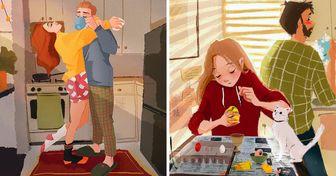 15 Cálidas ilustraciones de una artista sobre lo que significa vivir en pareja