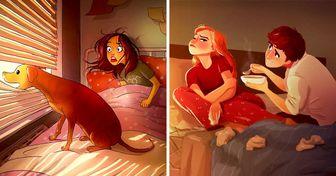 Artista muestra con cálidas ilustraciones lo que realmente significa estar en casa