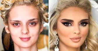 20+ Obras de un artista albano que muestran cuánto puede cambiar el maquillaje de boda a una novia