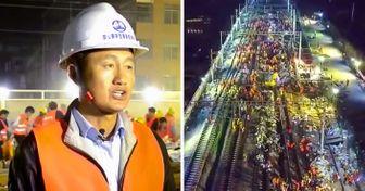 Mientras todo elmundo dormía, enChina construyeron unferrocarril enuna noche