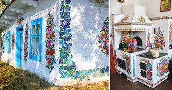 Un pueblo tiene la tradición de decorar todo con flores pintadas a mano y quedamos encantados con las imágenes del lugar