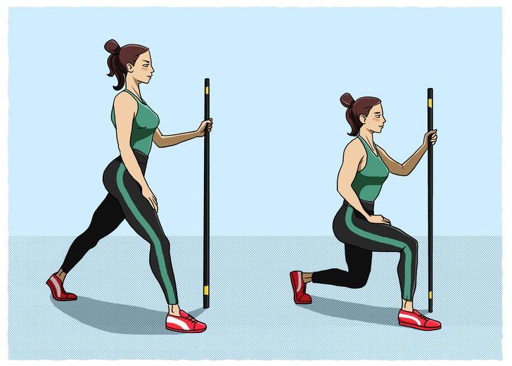 20 Ejercicios sencillos con el palo de escoba para glúteos, abdomen y piernas