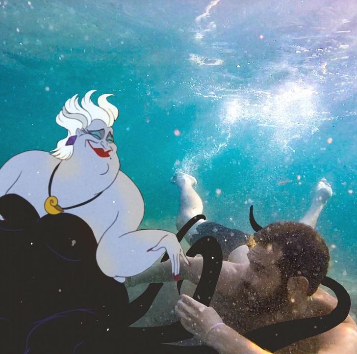 Artista italiano encontró una manera de interactuar con los personajes de Disney famosos, agregándolos en fotografías