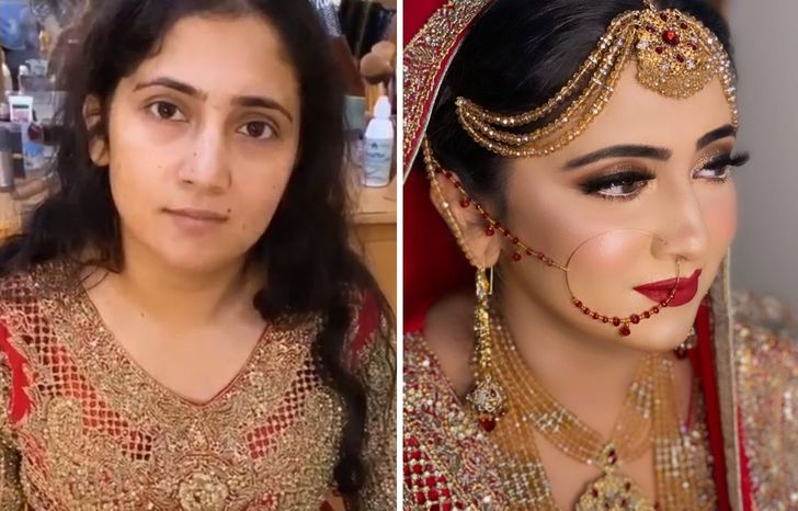 20+ Transformaciones sublimes de novias antes y después del maquillaje de su boda